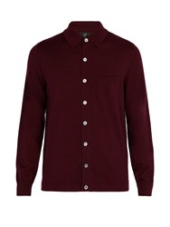 Dunhill Patch Pocket Wool Cardigan Burgundy