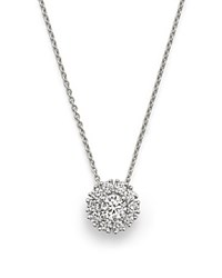 Roberto Coin 18K White Gold Cluster Pendant Necklace With Diamonds 16