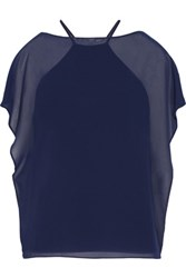 Bailey 44 Layered Chiffon And Stretch Jersey Top Indigo