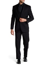 Calvin Klein Malik Two Button Notch Lapel 3 Piece Wool Suit Black