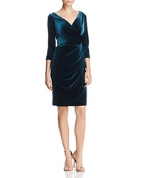 Betsey Johnson Faux Wrap Velvet Dress Pine