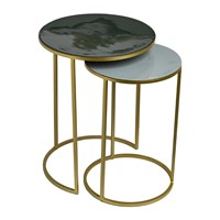 Pols Potten Enamel Side Table Set Of 2 Green Grey