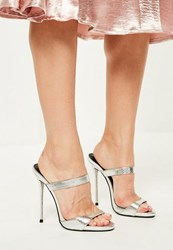 Missguided Silver Barley There Heeled Mules