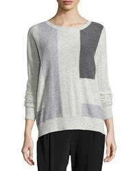Vince Cashmere Colorblock Sweater Snow Multicolor
