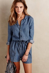 Level 99 Chambray Playsuit Blue