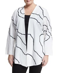 Ming Wang Printed Long Sleeve Jacket White Blue