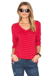 Velvet By Graham And Spencer Arianna Stripe V Neck Tee Red