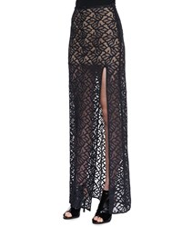 For Love And Lemons Front Slit Lace Maxi Skirt Blk Ptrn