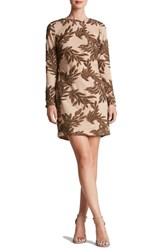 Dress The Population Women's 'Naomi' Long Sleeve Sequin Minidress Nude Bronze