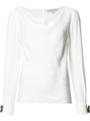 Carolina Herrera Flower Cuff Boatneck Blouse White