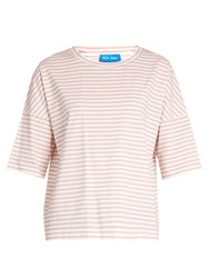Mih Jeans Oversized Striped Cotton T Shirt Pink White