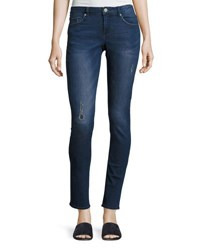 Cheap Monday Mid Snap Distressed Skinny Jeans Dark Blue