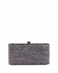 Neiman Marcus Sequin Box Clutch Bag Gray