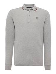 Duck And Cover Jordan Long Sleeve Polo Shirt Light Grey Marl
