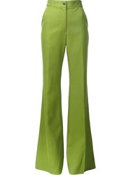 Rochas Pleated Bell Bottom Trousers Green
