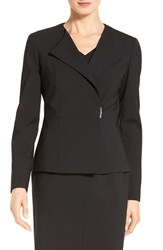 Boss Women's 'Jenudi' Wrap Front Stretch Wool Suit Jacket Black