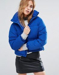 New Look Padded Boxy Jacket Mid Blue