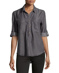 Velvet Heart Tab Sleeve Chambray Blouse Light Gray