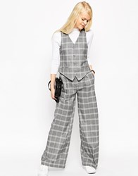 Asos Relaxed Wide Leg Trouser In Check Co Ord