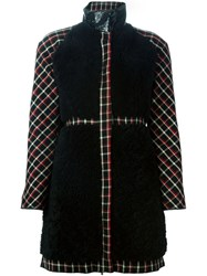 Moncler Gamme Rouge Panelled Check Padded Coat Black