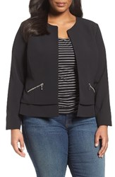 Sejour Plus Size Women's Collarless Boxy Twill Jacket