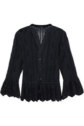 Love Sam Broderie Anglaise Voile Top Black