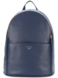 Emporio Armani Logo Plaque Backpack Calf Leather Polyester Polyurethane Blue