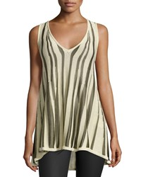 Minnie Rose Zebra Print Knit V Neck Tank Platinum