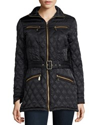 Vince Camuto Faux Suede Trimmed Quilted Jacket Black