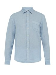 120 Lino Long Sleeve Linen Shirt Mid Blue