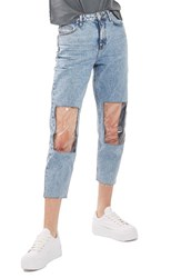 Topshop Women's Clear Knee Mom Jeans