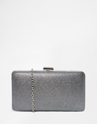 Chi Chi London Box Clutch Bag In Grey Metallic Lunar Rock