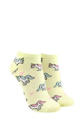 Forever 21 Unicorn Print Ankle Socks Yellow Multi