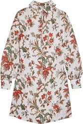 Mcq By Alexander Mcqueen Pintucked Floral Print Chiffon Mini Dress Ivory