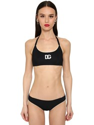 Dolce And Gabbana Embroidered Jersey Bikini Swimsuit Black