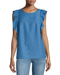 Mih Jeans Caval Butterfly Sleeve Top Sunset Blue
