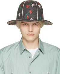 Comme Des Garcons Grey Embroidered Hat