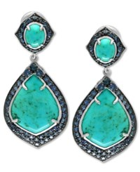 Effy Manufactured Turquoise 13 1 5 Ct. T.W. And Sapphire 3 5 8 Ct. T.W. Drop Earrings In Sterling Silver Blue