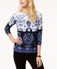 Charter Club Petite Printed Boat Neck Top Created For Macy's Modern Blue Cmb