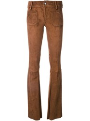 The Seafarer Suede Flared Trousers Brown