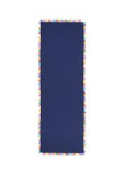 Franco Ferrari Colourblock Fringe Silk Scarf Blue