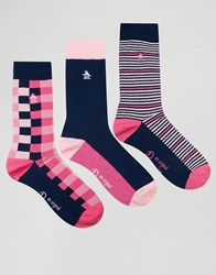 Original Penguin 3 Pack Socks Pink