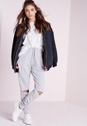 Missguided Rip Knee Joggers Light Grey