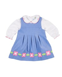 Florence Eiseman Corduroy Flower Dress W Peter Pan Collar Top Blue