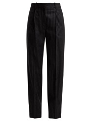 Hillier Bartley Pinstriped Wool Trousers Black White