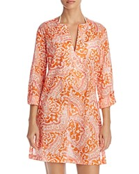 Echo Tropez Paisley Tunic Cover Up Tangerine
