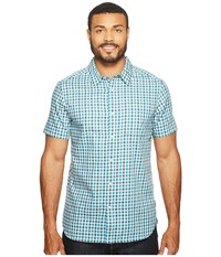 The North Face Short Sleeve Passport Shirt Shady Blue Plaid Men's Short Sleeve Button Up