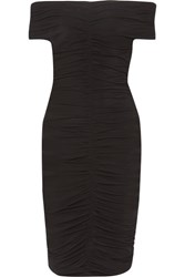 The Row Hali Off Shoulder Ruched Stretch Crepe Mini Dress Black