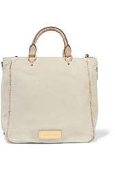 Marc By Marc Jacobs Snake Effect Leather Trimmed Nubuck Tote Taupe