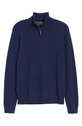 Nordstrom Big And Tall Shop Regular Fit Cashmere Quarter Zip Pullover Navy Iris
